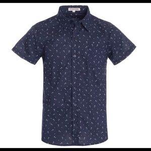 NWT Mens Martini Graphic Printed Woven Shirt Blue